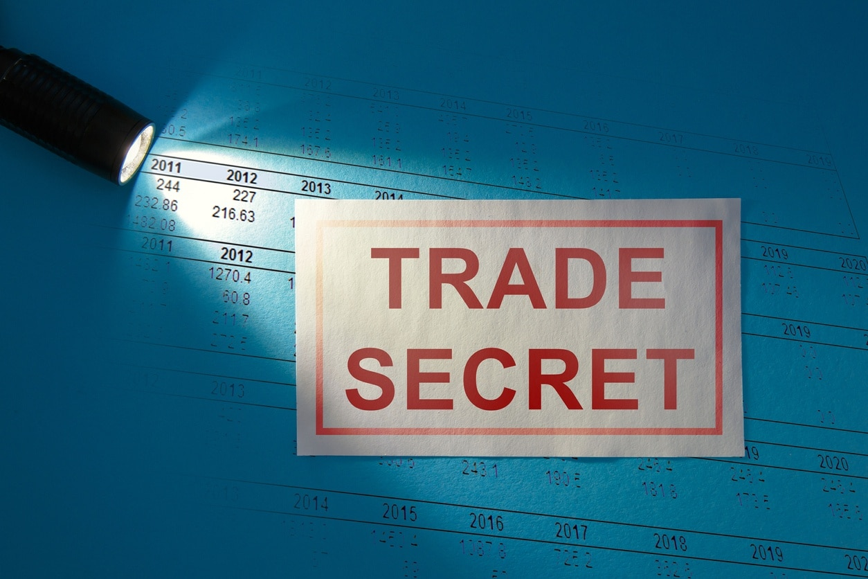 Trade Secret - inscription on a white card in the beam of light